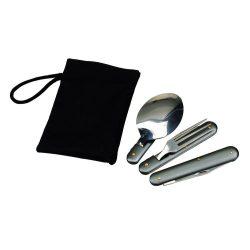 Set tacamuri pliabile 3 piese, Everestus, CG01, otel inoxidabil, nailon, gri, saculet de calatorie inclus