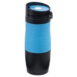 Cana de calatorie 380 ml, perete dublu, capac cu filet, negru/albastru, Everestus, CC11GM, otel inoxidabil, silicon, plastic