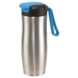 Cana de calatorie 400 ml, argintiu si albastru, Everestus, CC15TT, otel inoxidabil, plastic, silicon, saculet inclus