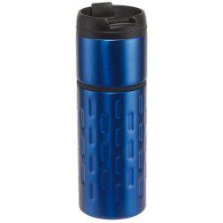 Cana de voiaj 400 ml, inel decorativ de cauciuc, Everestus, EE01, otel inoxidabil, plastic, albastru, saculet inclus