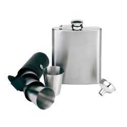 Set 7 piese, plosca 210 ml cu paharute, negru si argintiu, Everestus, PL02GN, otel inoxidabil