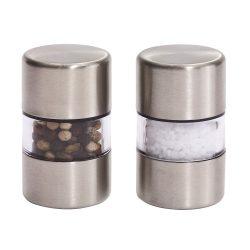 Set rasnite sare si piper, otel inoxidabil, plastic, ceramica, Everestus, SP06SF, argintiu
