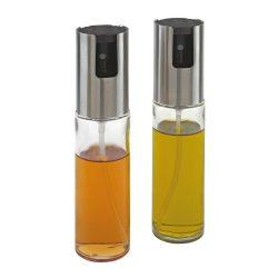 Set shakere pentru ulei si otet, Everestus, LEE01, otel inoxidabil, sticla, plastic, transparent, argintiu