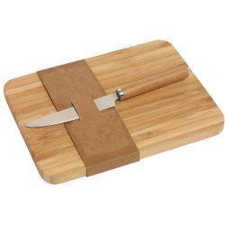 Set tocator si cutit, 20x15x1.2 cm, Everestus, TB02, bambus, otel inoxidabil, maro, saculet de calatorie inclus