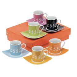 Set espresso, 6 cesti cu farfurioara, multicolor, Everestus, SC03LA, portelan, saculet de calatorie inclus