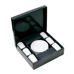 Set 6 cesti espresso, alb, Everestus, SC02BO, portelan, saculet de calatorie inclus