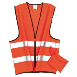 Vesta de siguranta cu benzi reflectorizante, Everestus, HO02, poliester, portocaliu, saculet de calatorie inclus