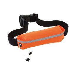 Centura de alergat rezistenta la apa, poliester, poliamida, plastic, Everestus, SM03, negru, portocaliu, saculet sport inclus