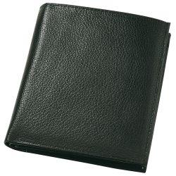 Portofel negru pentru monede, bancnote si carduri, Everestus, PO06MA, piele