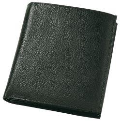Portofel negru pentru monede, bancnote si carduri, Everestus, PO06MA, piele, 105x120x15 mm, lupa de citit inclusa