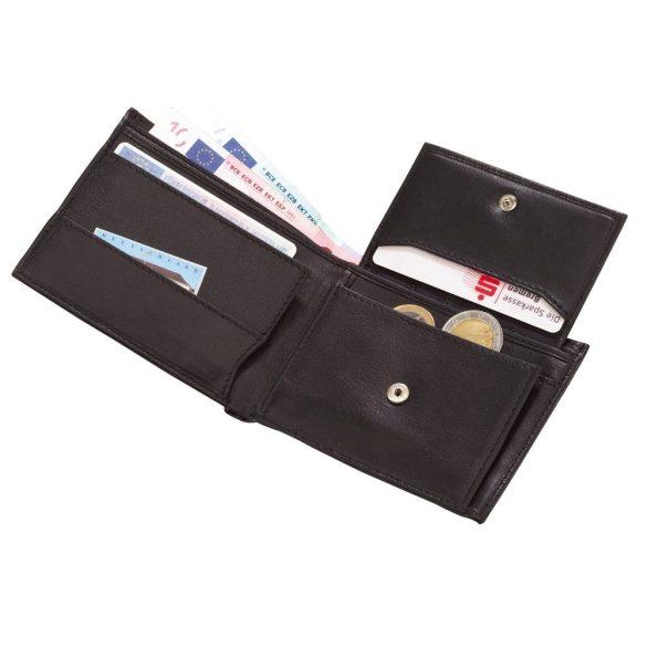 Portofel negru pentru bancnote, carduri si monede, Everestus, PO07PO, piele, 110x90x20 mm, lupa de citit inclusa