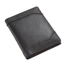 Portofel negru cu 12 buzunare pentru carduri si carti de vizita, Everestus, PO12WT, piele
