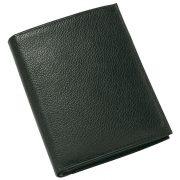 Portofel negru cu multiple buzunare pentru carduri, bancnote si monede, Everestus, PO10TI, piele, 118x92x15 mm