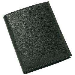 Portofel negru cu multiple buzunare pentru carduri, bancnote si monede, Everestus, PO10TI, piele
