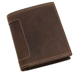 Portofel maro cu 6 buzunare carduri si 2 buzunare bancnote, Everestus, PO14WE, piele, 120x100x22 mm