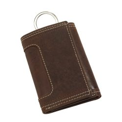 Portofel pentru chei, inchidere cu capse, Everestus, WS01, piele, maro, 129x70x22 mm, lupa de citit inclusa