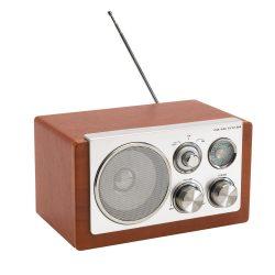 Radio clasic, Everestus, 20IAN1249, Argintiu, Maro, Plastic, Lemn