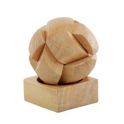 Joc de indemanare Minge Puzzle, 6 piese, Everestus, JJE14, lemn, natur