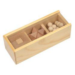 Set de jocuri puzzle, maro, Everestus, JM01BR, lemn, plastic, saculet de calatorie inclus