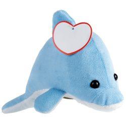 "Delfin de Plus, inaltime 13 cm, Kidonero, Colectia ""Micul meu prieten"", JPK061, poliester, albastru, alb, radiera inclusa"