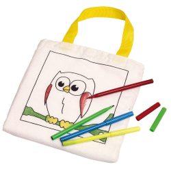 Sacosa de colorat pentru copii cu 4 carioci, Everestus, 20APR013, bumbac, alb