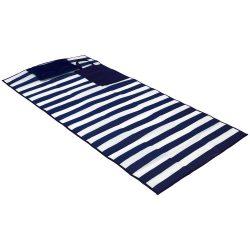 Saltea de plaja pliabila, cu perna gonflabila, Everestus, 20IAN2584, Albastru, Alb, Plastic