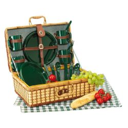 Cos de picnic, 4 persoane, verde, natur, Everestus, CP01GK, bambus, saculet de calatorie si pastila racire incluse