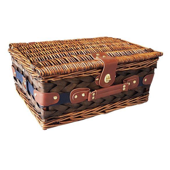 Cos pentru picnic, 2 persoane, albastru, alb, Everestus, CP04CK, lemn, saculet de calatorie si pastila racire incluse