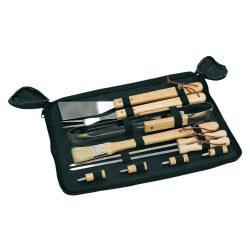 Ustensile pentru gratar in geanta cu fermoar, negru, Everestus, UG09FD, otel inoxidabil, poliester, lemn, saculet inclus