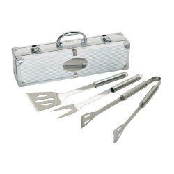 Trusa pentru barbeque 3 piese, argintiu, Everestus, UG08RT, otel inoxidabil, aluminiu, saculet de calatorie inclus
