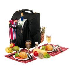 Rucsac pentru picnic, 2 persoane, negru, rosu, Everestus, CP09DO, poliester