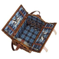 Cos picnic, 4 persoane, albastru, Everestus, CP06SE, lemn, saculet de calatorie si pastila racire incluse