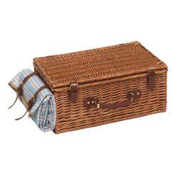 Cos pentru picnic, 4 persoane, maro, albastru, bej, Everestus, CP05MK, lemn, saculet de calatorie si pastila racire incluse