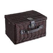 Cos de picnic din rachita, 2 persoane, maro, Everestus, CP03SK, lemn, saculet de calatorie si pastila racire incluse