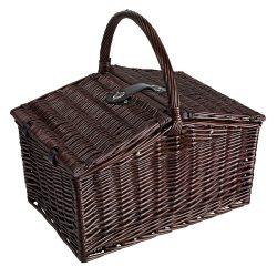 Cos de picnic din rachita, 4 persoane, maro, Everestus, CP02RK, lemn, saculet de calatorie si pastila racire incluse