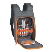Rucsac picnic, 2 persoane, gri, portocaliu, Everestus, CP11SP, poliester, metal, plastic