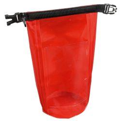 Geanta de plaja din material impermeabil, Everestus, EGP0616, poliester, plastic, polipropilena, rosu, saculet inclus