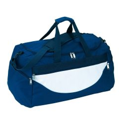 Geanta sport, albastru inchis, alb, Everestus, GS06CP, poliester 600D, saculet de calatorie si eticheta bagaj incluse