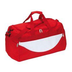 Geanta sport, rosu, alb, Everestus, GS11CP, poliester 600D, saculet de calatorie si eticheta bagaj incluse