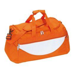 Geanta sport, portocaliu, alb, Everestus, GS10CP, poliester 600D, saculet de calatorie si eticheta bagaj incluse