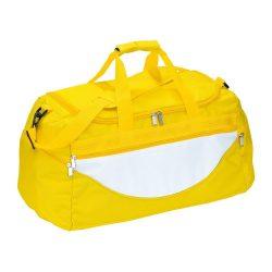 Geanta sport, galben, alb, Everestus, GS08CP, poliester 600D, saculet de calatorie si eticheta bagaj incluse