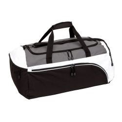Geanta sport, alb, gri, negru, Everestus, GS23NK, poliester 600D, saculet de calatorie si eticheta bagaj incluse