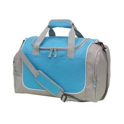 Geanta sport, gri, albastru deschis, Everestus, GS18GM, poliester 600D, saculet de calatorie si eticheta bagaj incluse