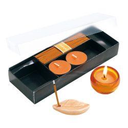 Set 3 lumanari si betigase parfumate, Everestus, LPD08, sticla, ceramica, portocaliu, laveta inclusa
