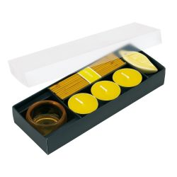 Set 3 lumanari si betigase parfumate, Everestus, LPD07, sticla, ceramica, galben, laveta inclusa