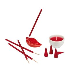 Set lumanare si betigase parfumate, Everestus LPD10, ceramica, rosu, laveta inclusa