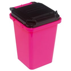 Suport pixuri in forma de pubela, roz, Everestus, SAB06, plastic, lupa de citit inclusa