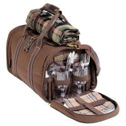 Geanta de picnic, 4 persoane, maro, Everestus, CP074K, nailon, saculet de calatorie si pastila racire incluse