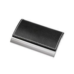 Portcard cu interior din catifea, Everestus, PPE06, aliaj de zinc, poliuretan, negru, argintiu, 96x64x10 mm