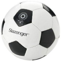 Minge de fotbal, marime 5, Slazenger by AleXer, EO01, latex, pvc, alb, negru, breloc inclus din piele ecologica si metal